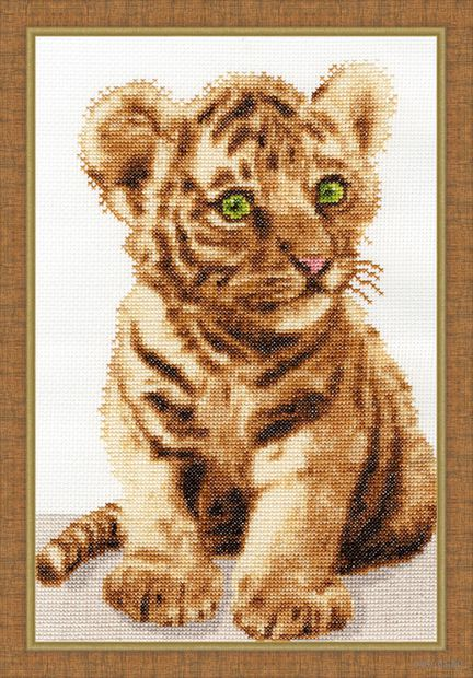 "Вышивка крестом ""Уссурийский тигренок"" (285x190 мм) — фото, картинка"