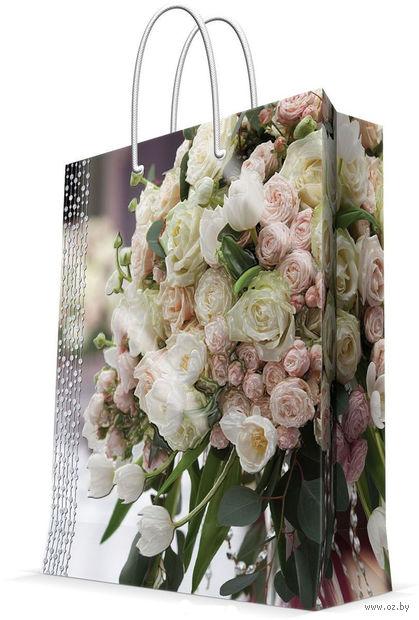 """Пакет бумажный подарочный """"Свадебный букет"""" (17,8х22,9х9,8 см; арт. 43519) — фото, картинка"""