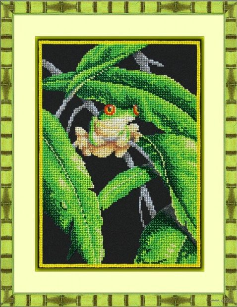 "Вышивка бисером ""Древесная лягушка"" (200х280 мм) — фото, картинка"