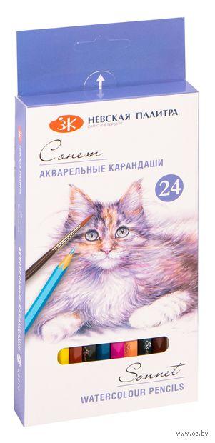 """Набор карандашей цветных акварельных """"Сонет"""" (24 цвета) — фото, картинка"""