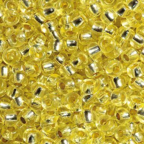 Бисер прозрачный с серебристым центром №08283 (светло-желтый)