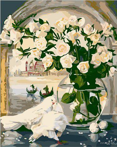 """Картина по номерам """"Белые розы и голуби"""" (400х500 мм; цветной холст)"""