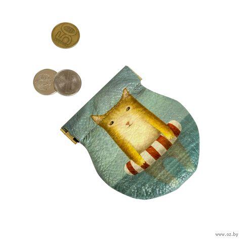"""Монетница круглая """"Котик в море"""" — фото, картинка"""