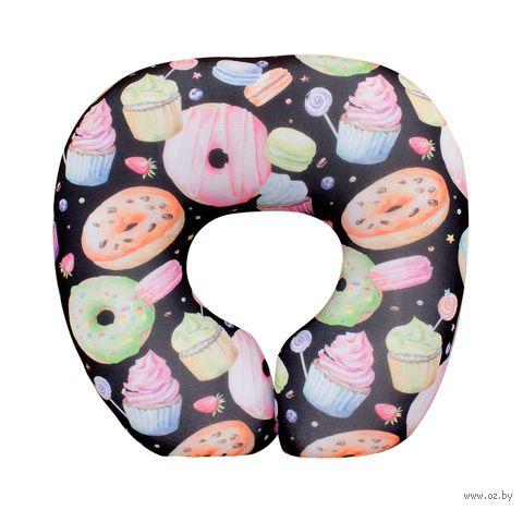 """Подушка под шею """"Пончики"""" (34х34 см; чёрная) — фото, картинка"""