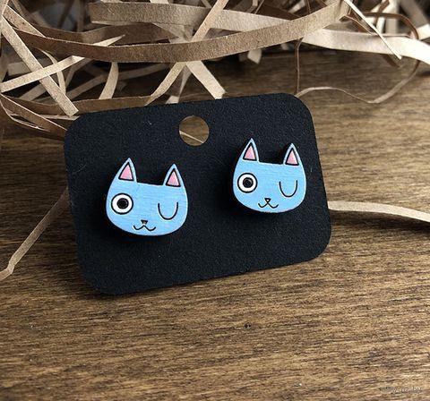 "Серьги ""Голубой котик"" (арт. 023) — фото, картинка"
