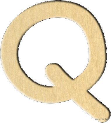 """Заготовка деревянная """"Английский алфавит. Буква Q"""" (32х35 мм)"""