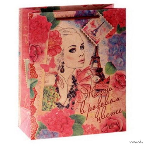 "Пакет бумажный подарочный ""Девушка винтаж"" (32х26х12 см; арт. 10645971)"