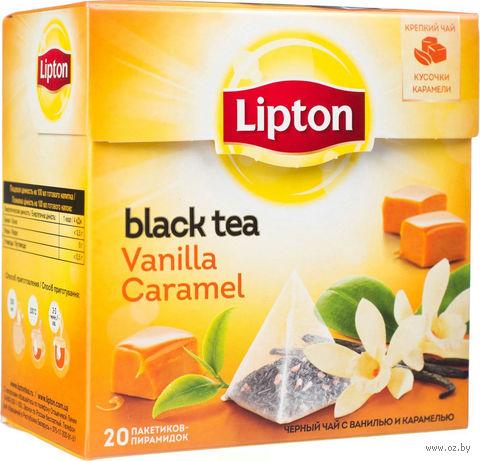 """Чай черный """"Lipton. Vanilla Caramel"""" (20 пакетиков) — фото, картинка"""
