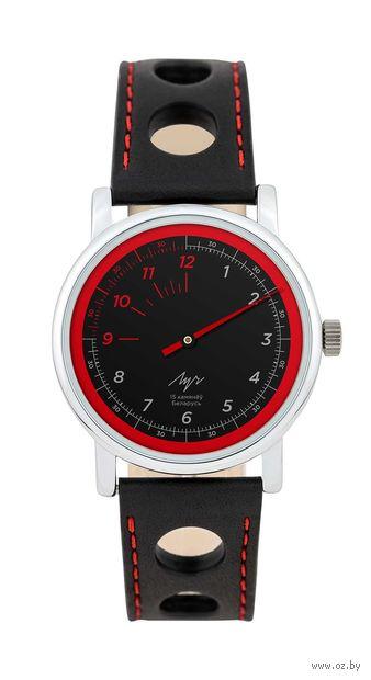 """Часы наручные """"Однострелочник"""" (чёрно-красные; арт. 71951774) — фото, картинка"""