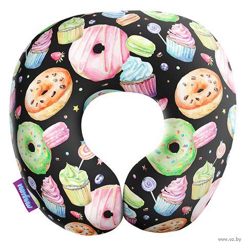 """Подушка под шею """"Пончики"""" (29х29 см; чёрная) — фото, картинка"""