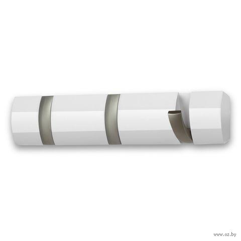 """Вешалка настенная """"Flip"""" (3 крючка; 305х31х66 мм; белая) — фото, картинка"""