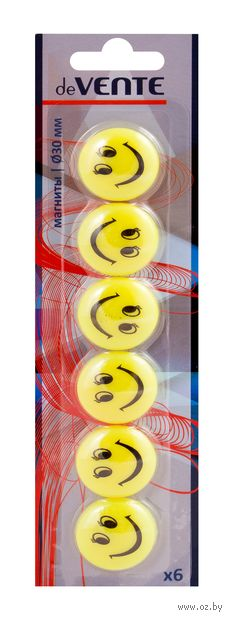 "Набор магнитов для доски ""Smile"" (6 шт.; 3 см) — фото, картинка"