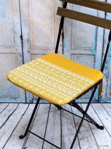 "Подушка на стул ""Frost"" (38х38 см; желтая) — фото, картинка"