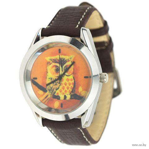 """Часы наручные """"Owl"""" (коричневые) — фото, картинка"""
