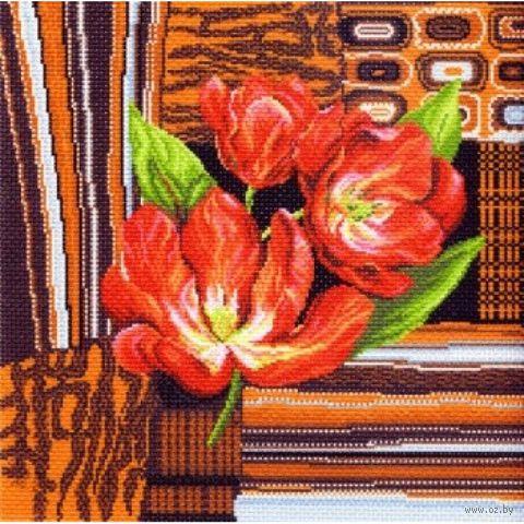 """Канва с нанесенным рисунком """"Тюльпаны на коричневом"""""""