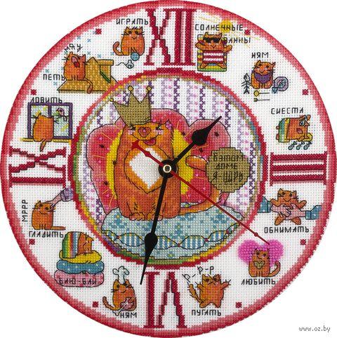 """Вышивка крестом """"Часы. Кот в доме хозяин"""" (250х250 мм) — фото, картинка"""