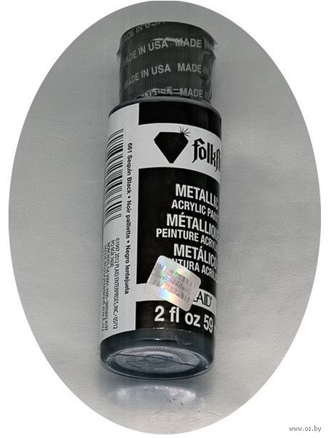 """Краска акриловая """"FolkArt. Metallic"""" (черный блестящий, 59 мл; арт. PLD-00661)"""