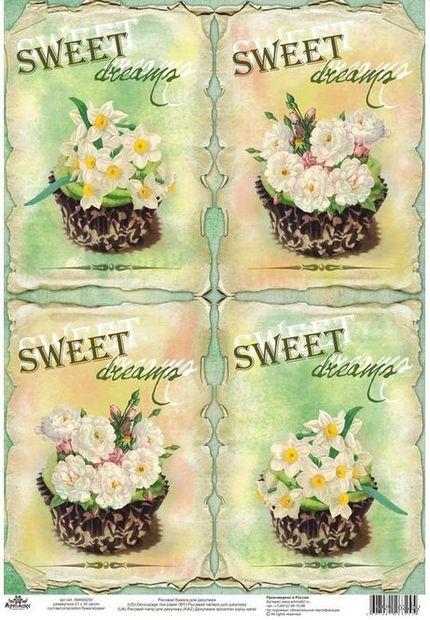 """Бумага для декупажа рисовая """"Сладкие цветы"""" (21х30 см) — фото, картинка"""