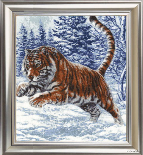 "Вышивка крестом ""Прыжок тигра"" (400х352 мм) — фото, картинка"