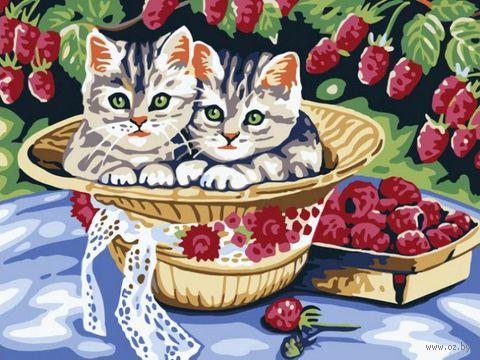 """Картина по номерам """"Котята в саду"""" (300х400 мм)"""