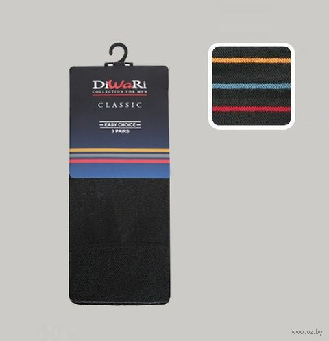 """Комплект мужских хлопковых носков """"DiWaRi. Classic 000"""" (3 пары)"""