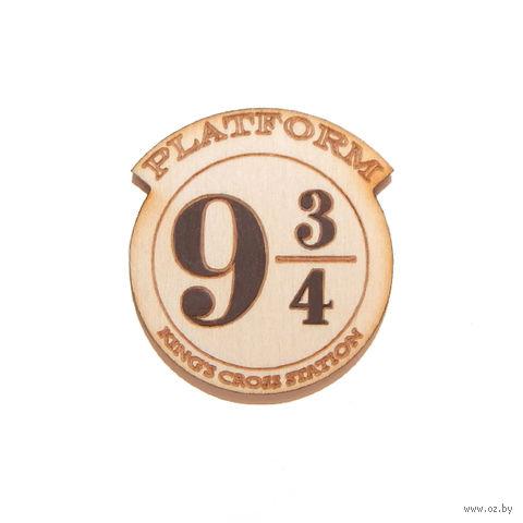 "Значок деревянный ""Гарри Поттер. Платформа 9 и 3/4"" — фото, картинка"