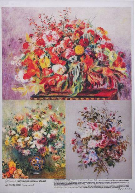 "Бумага для декупажа ""Ренуар. Цветы 1"" (210х300 мм) — фото, картинка"