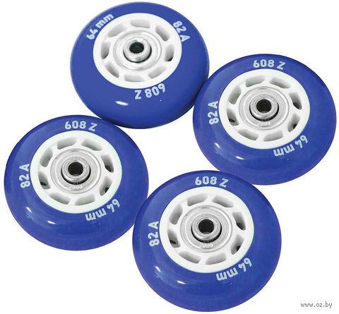Комплект светящихся колёс для роликов (4 шт.; синий) — фото, картинка