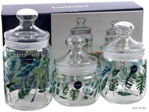 """Набор банок для сыпучих продуктов """"Tropical Foliage"""" (3 шт.) — фото, картинка"""