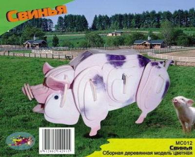 """Сборная деревянная модель """"Свинья"""" — фото, картинка"""