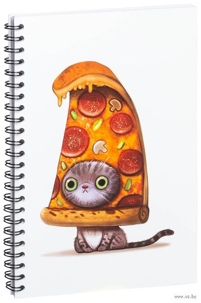 "Блокнот в клетку ""Кот-пицца"" (A5; арт. 954) — фото, картинка"
