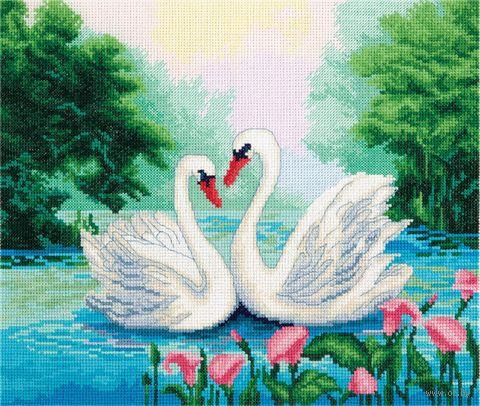 "Вышивка крестом ""Пара лебедей"" (260х220 мм) — фото, картинка"