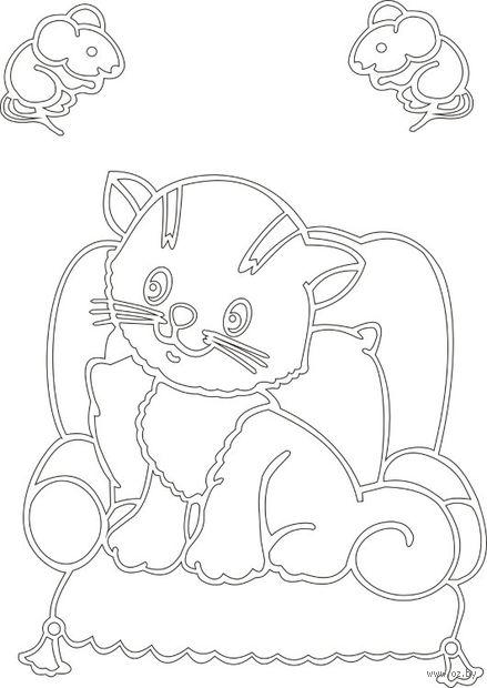 """Трафарет для рисования песком """"Кот с мышами"""" (А5)"""