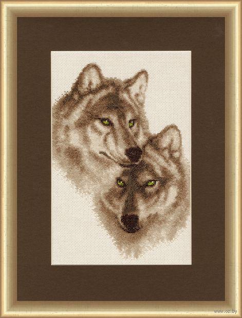 """Вышивка крестом """"Влюбленные волки"""" (304х192 мм) — фото, картинка"""