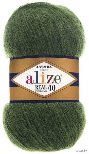 "Пряжа ""ALIZE. Angora Real 40 №563"" (100 г; 480 м; тёмно-зеленый) — фото, картинка"