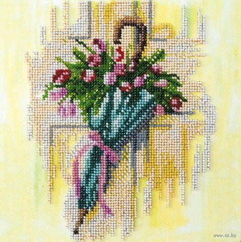 "Вышивка бисером ""Зонтик и тюльпаны"" (200х200 мм) — фото, картинка"