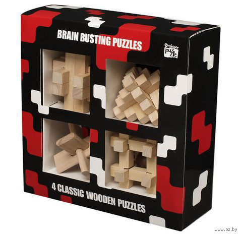 """Набор из 4 головоломок из дерева """"Зарядка для мозга"""""""
