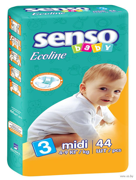 "Подгузники ""Senso baby Ecoline. Midi"" (4-9 кг; 44 шт.) — фото, картинка"