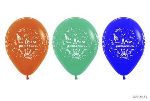 """Набор воздушных шаров """"С днем рождения"""" (10 шт.; в ассортименте) — фото, картинка"""