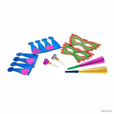 Набор для праздника (2 маски, 2 язычка, 2 дудки, 2 короны) — фото, картинка