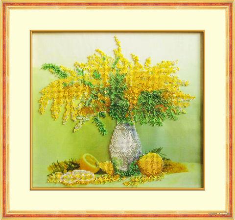 """Вышивка бисером """"Мимоза и лимоны"""" (300х310 мм) — фото, картинка"""