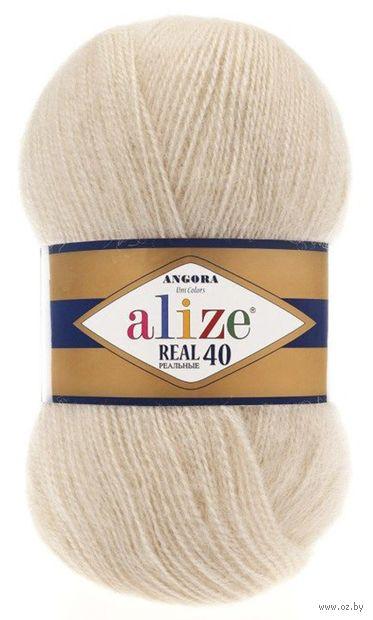 "Пряжа ""ALIZE. Angora Real 40 №67"" (100 г; 480 м; молочно-бежевый) — фото, картинка"