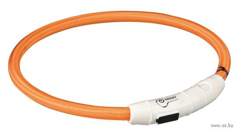 Ошейник светящийся для животных (размер M-L, 45 см, оранжевый)