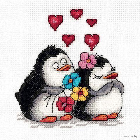 """Вышивка крестом """"Влюбленные пингвины"""" (115х125 мм) — фото, картинка"""
