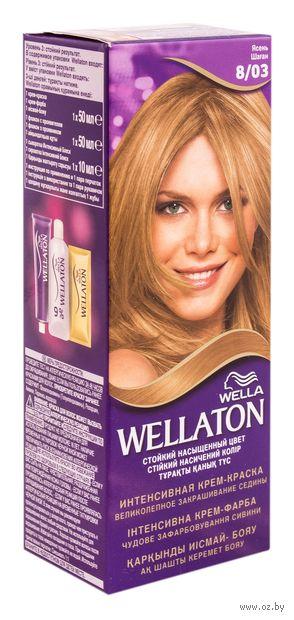 """Крем-краска для волос """"Wellaton. Интенсивная"""" (тон: 8/03, ясень) — фото, картинка"""
