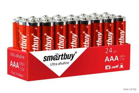 Батарейка алкалиновая Smartbuy LR03/4S (24/480) (SBBA-3A24S) (24 штуки)