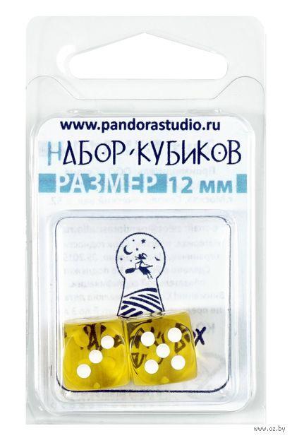 """Набор кубиков D6 """"Прозрачный"""" (12 мм; 2 шт.; жёлтый) — фото, картинка"""
