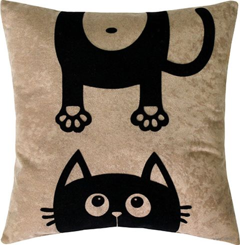 "Подушка ""Meow"" (35x35 см; бежевая) — фото, картинка"