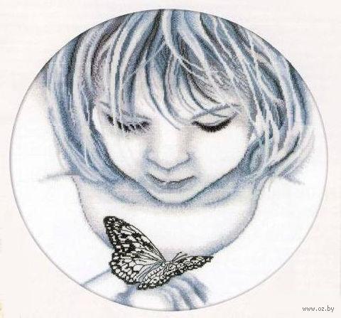"""Вышивка крестом """"Девочка и бабочка"""""""