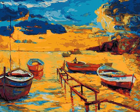 """Картина по номерам """"Пейзаж с лодками"""" (400х500 мм) — фото, картинка"""
